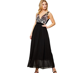 Black Contrast Sequin Bodice Maxi Dress