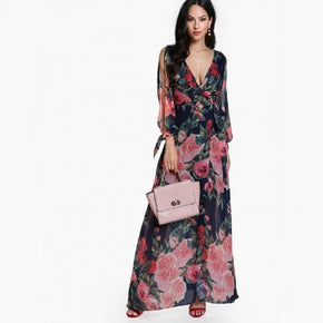 Multicolor Surplice Front Open Back Split Sleeve Floral Dress