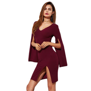 Burgundy Split Form Fitting Dress