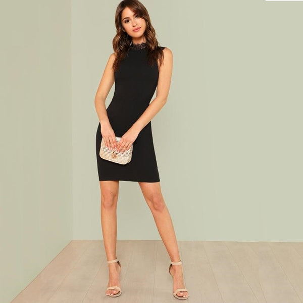 Black Lace Trim Form Fitted Dress
