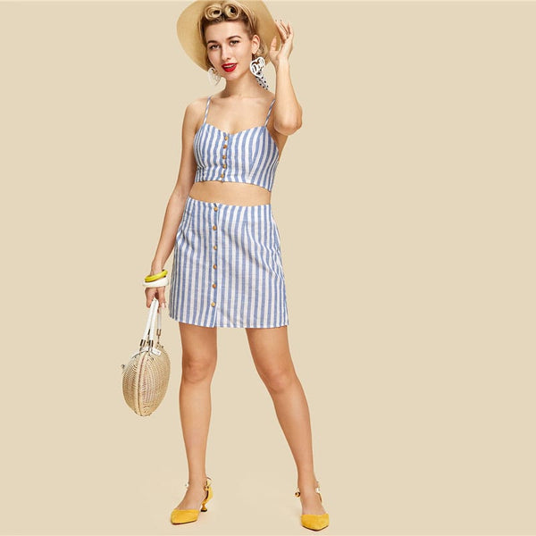 Blue Striped Button Up Crop Cami & Skirt Co-Ord
