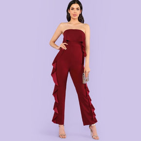 Burgundy Ruffle Trim Fold Over Strapless Jumpsuit