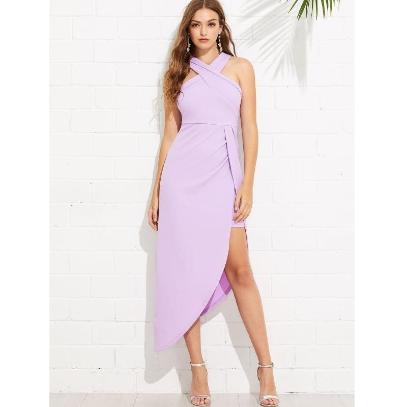 Crisscross Halterneck Front Asymmetrical Maxi Dress