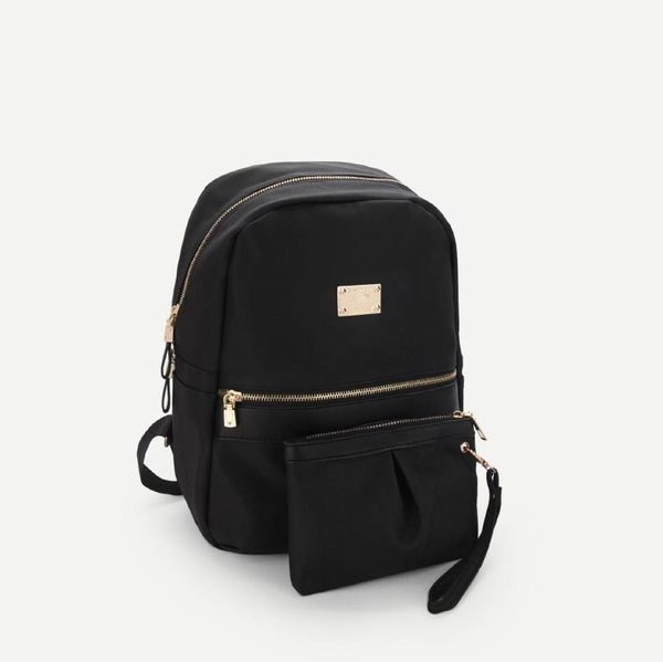 Black Side Pocket Double Zipper Backpack With Clutch