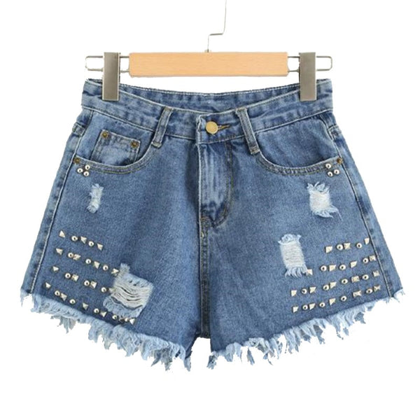 Blue Rivet Raw Hem Denim Shorts