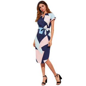 Geo Print Slit Side Curved Hem Dress