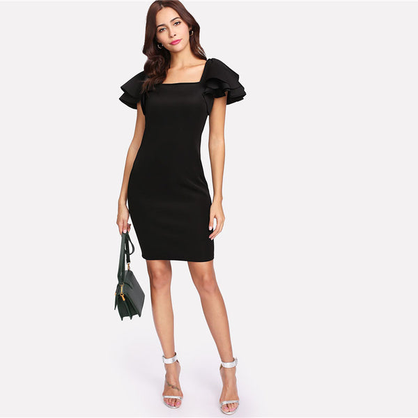 Black Layered Sleeve Square Neck Dress