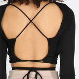 Black Criss Cross Backless Long Sleeve Crop Top
