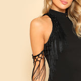 Black Tassel Embellished Open Shoulder Dress