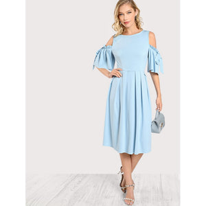 Blue Bow Tie Flutter Sleeve Pleated Fit & Flared Dress