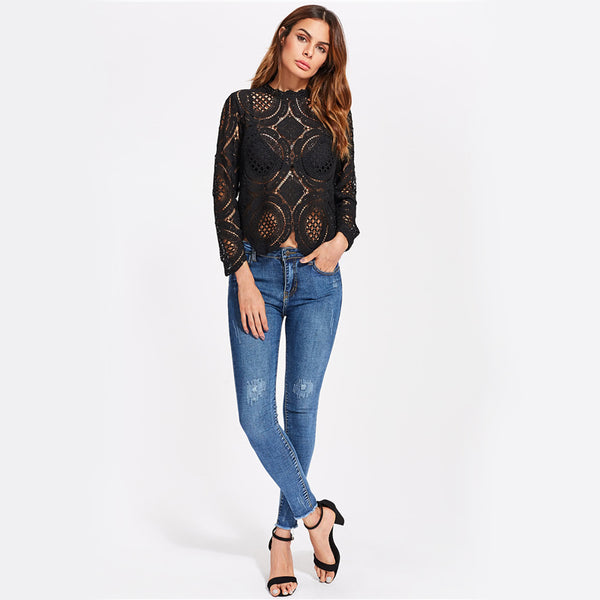 Black Crochet Lace Hollow Out Tunic Blouse