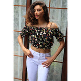 Floral Lace Lining Mesh Embroidery Blouse