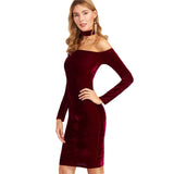 Choker Neck Velvet Halter Pencil Dress