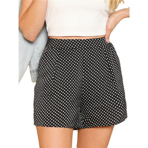 Black Polka Dot Tailored Shorts