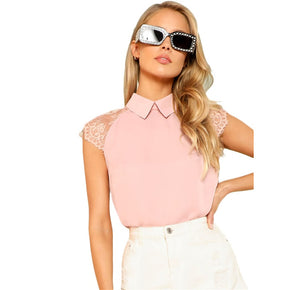 Pink Floral Lace Cap Sleeve Blouse