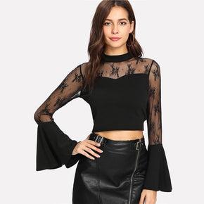 Black Trumpet Sleeve Lace Sweetheart Crop Top