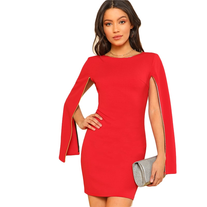 Red Contrast Tipping Cloak Sleeve Dress