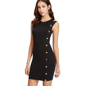 Black Button Detail One Side Ribbed Dress