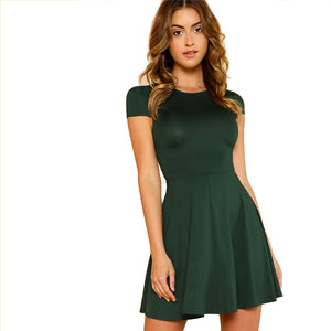 Green Open Back Fit & Flared Dress
