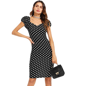 Black with White Polka Dot Puff Sleeve Pencil Dress