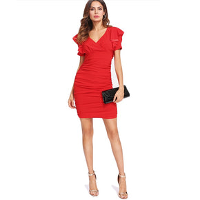 Red Flounce Detail Ruched Dress