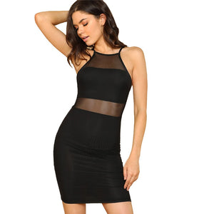 Black Slip Backless Mesh Pencil Dress
