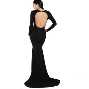 Black Open Back Form Fitting Fishtail Dress