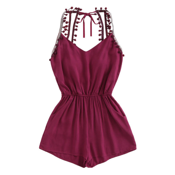Burgundy Embroidered Braid with Pompoms Romper