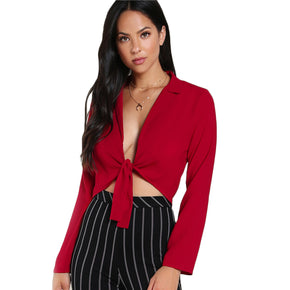 Red Deep V Neck with Long Sleeve Blouse