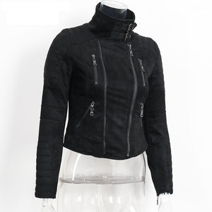 Faux Leather Suede Outerwear Jackets
