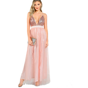 Pink Sequins Mesh Overlay with Open Back Maxi Dress