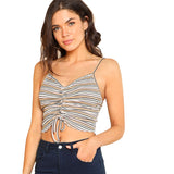 Vacation Ruffle Trim Drawstring Front Cami Top