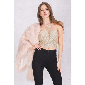 Elegant Gauze Metallic Lace Beach Backless  Crop Top