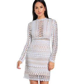 White Circle Guipure Lace Overlay Dress