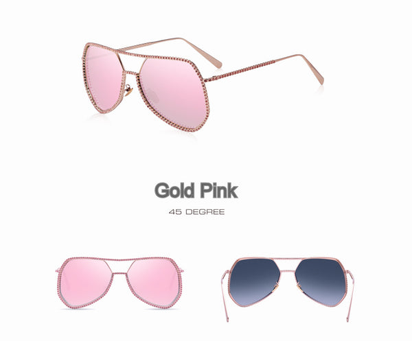 Decorative Rhinestone Oversized Frame Sunglasses