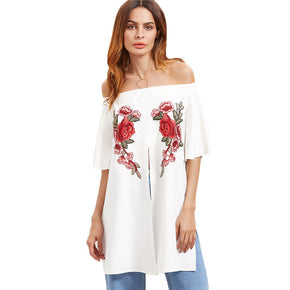 White Off Shoulder Rose Embroidered Applique Split Front Top