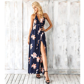 Navy Cross Back Lace up Sleeveless Split Maxi Dress