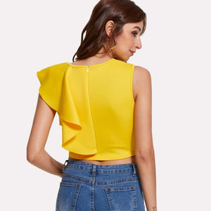 Casual Ruffle Detail Crop Top