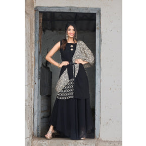 Black with Printed Dupatta One Piece Gown
