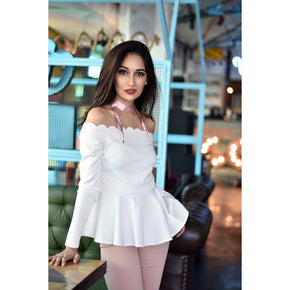 WHITE SCALLOP OFF THE SHOULDER PEPLUM TOP FASHION BLOUSE