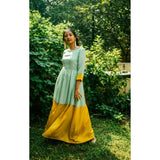 Color Block Tassel Mint Green and Yellow Gown