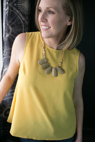 Yellow Button Back Top and Statement Necklace Workwear