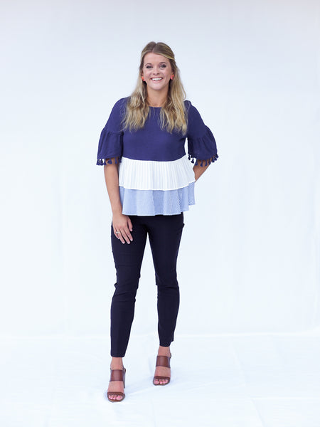 Multi Texture Layered Top with Tassels for Work