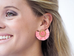 Beaded Raffia Fan Stud Earrings for Work