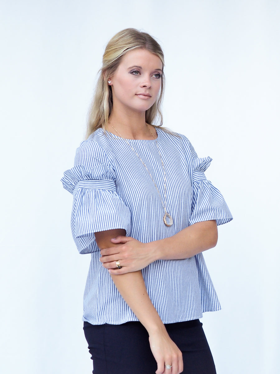 Statement Sleeve Striped Top Business Casual