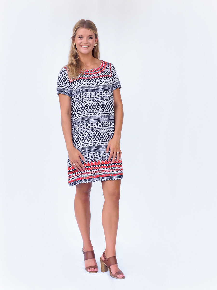 Short Sleeve Patterned Dress With Embroidery Detail