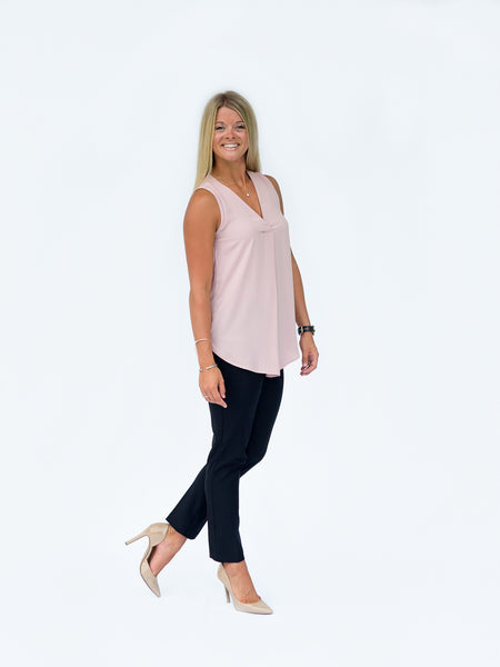 Solid Flowy Sleeveless Top for Work