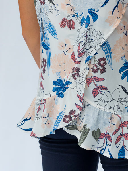 Floral Sleeveless Top with Ruffle Details for Work