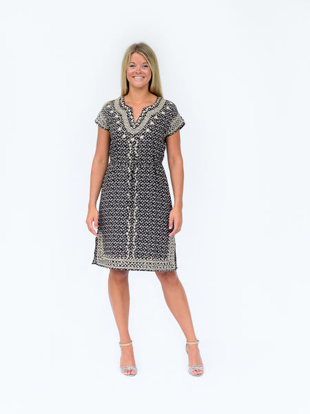 Patterned Dress With Embroidery And Side Slits
