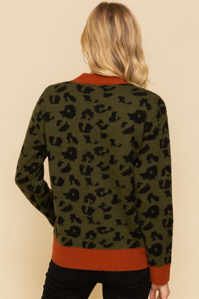 Olive & Tan Leopard Print Sweater